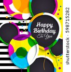 happy birthday greeting card.... | Shutterstock .eps vector #598715282