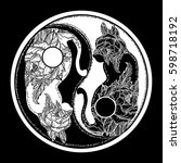 cats yin and yang tattoo. boho... | Shutterstock .eps vector #598718192