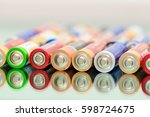 closeup of pile of used... | Shutterstock . vector #598724675