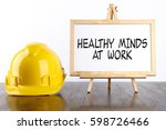safety helmet and white board... | Shutterstock . vector #598726466