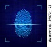 fingerprint on computer... | Shutterstock .eps vector #598734425