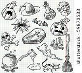 set with halloween doodles ... | Shutterstock .eps vector #59873533