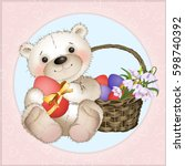 bear with easter eggs and a... | Shutterstock .eps vector #598740392