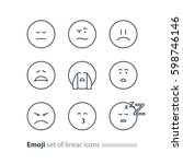 set of linear emoji icons ... | Shutterstock .eps vector #598746146