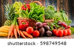 composition with assorted raw... | Shutterstock . vector #598749548