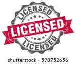 licensed. stamp. sticker. seal. ... | Shutterstock .eps vector #598752656