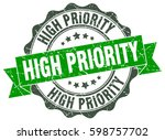 high priority. stamp. sticker.... | Shutterstock .eps vector #598757702