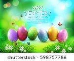 vector background. easter eggs... | Shutterstock .eps vector #598757786