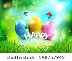 vector background. easter eggs... | Shutterstock .eps vector #598757942