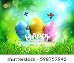 vector background. easter eggs... | Shutterstock .eps vector #598757942