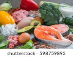 healthy eating food low carb... | Shutterstock . vector #598759892