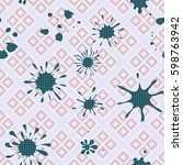 seamless pattern. colored blots ... | Shutterstock .eps vector #598763942