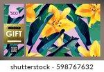 floral flyer  discount voucher  ... | Shutterstock .eps vector #598767632