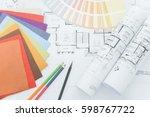 top view of designer desk with... | Shutterstock . vector #598767722