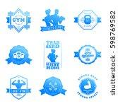 fitness  gym vector logos ... | Shutterstock .eps vector #598769582