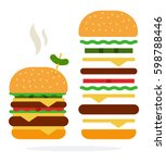 hot double burger with cheese... | Shutterstock .eps vector #598788446