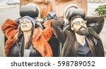 fashion hipster boyfriend and... | Shutterstock . vector #598789052