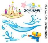 vector sign songkran festival... | Shutterstock .eps vector #598791542