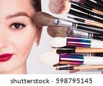 the face of a beautiful girl... | Shutterstock . vector #598795145