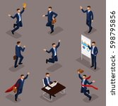 trendy isometric people  3d... | Shutterstock .eps vector #598795856