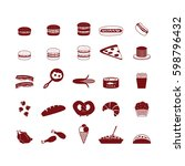 food icons set. vector. | Shutterstock .eps vector #598796432