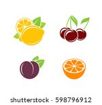 tropical fruit and citrus fruit | Shutterstock .eps vector #598796912