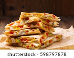quesadilla with chicken  served ... | Shutterstock . vector #598797878