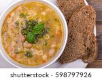 fresh minestrone soup  made... | Shutterstock . vector #598797926