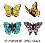 Stock vector hand drawn vector illustration butterflies collection summer edition perfect for invitations 598798325