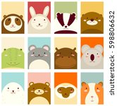 Stock vector banners backgrounds flyers placards in hand drawn style with cute animals poster for 598806632