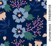 beautiful floral pattern.... | Shutterstock .eps vector #598808438