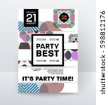 invitation disco party poster... | Shutterstock .eps vector #598812176
