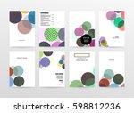 memphis geometric background... | Shutterstock .eps vector #598812236