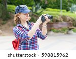 woman in a red cap with a... | Shutterstock . vector #598815962