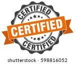 certified. stamp. sticker. seal.... | Shutterstock .eps vector #598816052