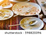 empty dirty plates with spoon...   Shutterstock . vector #598820396