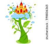 magic beanstalk and castle in... | Shutterstock .eps vector #598836365