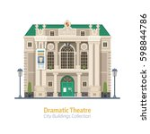 dramatic theatre building... | Shutterstock .eps vector #598844786