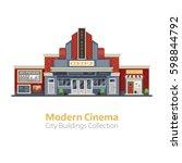 modern cinema building facade... | Shutterstock .eps vector #598844792