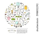 hand drawn doodle golf icons... | Shutterstock .eps vector #598852292