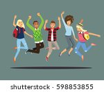 happy group of friend jumping... | Shutterstock .eps vector #598853855