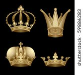 set of four gold crown with... | Shutterstock .eps vector #59886283
