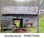 Wooden American Flag On Barn