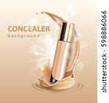 concealer stick ads  3d... | Shutterstock .eps vector #598886066
