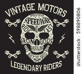 vintage motors.emblem with... | Shutterstock .eps vector #598890806
