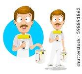 vector illustration of smiling... | Shutterstock .eps vector #598891862