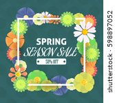 spring sale colorful flowers... | Shutterstock .eps vector #598897052