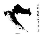 croatia black map border with...