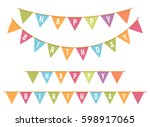 bunting for happy birthday on... | Shutterstock .eps vector #598917065