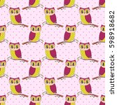 seamless pattern with cute hand ... | Shutterstock .eps vector #598918682